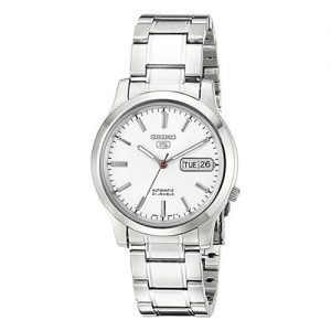 Steel Watch with White Dial